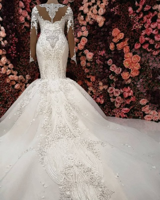 Sexy Crystals  Mermaid Bridal Gowns | Long Sleeve Chapel Train Wedding Dresses_3