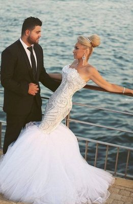 Crystal Beading Mermaid Tulle Wedding Dress with Detachable Train Luxurious Sweep Train Bridal Gowns MH045_1