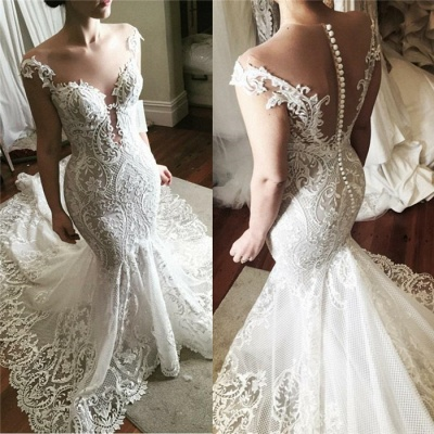 Sexy Lace Mermaid Wedding Dress 2019 | Glamorous Sheer Tulle Bridal Gowns with Buttons_3