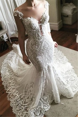 Sexy Lace Mermaid Wedding Dress 2019 | Glamorous Sheer Tulle Bridal Gowns with Buttons_1