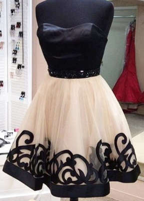 Black Strapless Appliques Sexy Short Homecoming Dresses Party Dresses_1