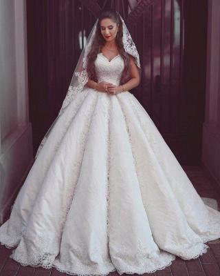 Elegante Brautkleider mit Spitzenträgern | Puffy ärmellose Ballkleider für die Braut_1