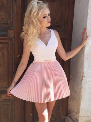 Cute Pink Beads Ruffled Short Homecoming Dress | Mini Party Gown_1