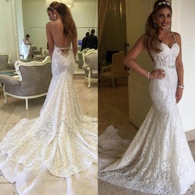 Backless Spaghetti Straps Elegant Mermaid Lace Wedding Dresses Cheap Online_3
