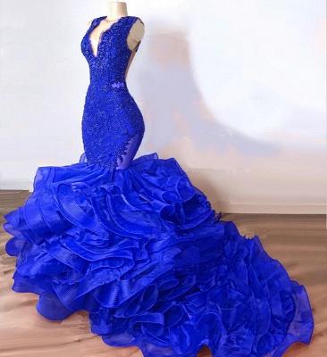 Royal Blue Mermaid Junior Long Prom Dresses Cheap | V-Neck Sleeveless Plus Size Evening Dress_3