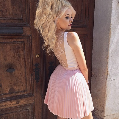 Cute Pink Beads Ruffled Short Homecoming Dress | Mini Party Gown_3