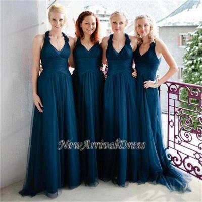 Navy A-line Halter Elegant Floor-length Simple Bridesmaid Dress_1