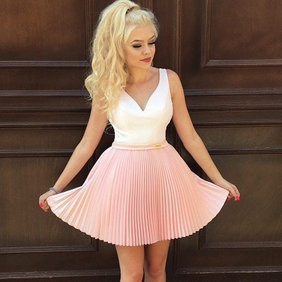 Cute Pink Beads Ruffled Short Homecoming Dress | Mini Party Gown_5