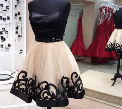 Black Strapless Appliques Sexy Short Homecoming Dresses Party Dresses_2