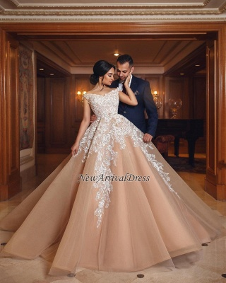Off The Shoulder Lace Champagne Wedding Dresses   Puffy Tulle Elegant Bridal Gowns Cheap Online_1
