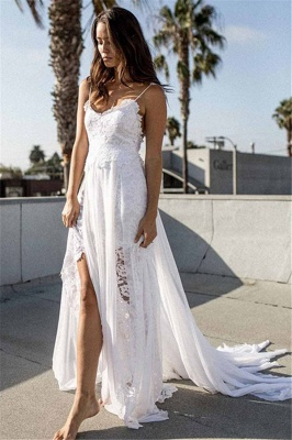 Simple Lace Beach Wedding Dresses Cheap | Spaghetti Straps Sexy Bridal Gowns