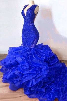 Royal Blue Mermaid Junior Prom Dresses Cheap | V-Neck Sleeveless Plus Size Long Evening Dress