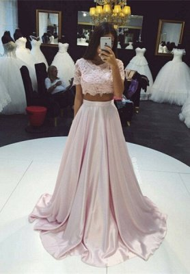 2018 Two-Piece Prom Dresses Pink Lace Short Sleeves Elegant Long Evening Gowns