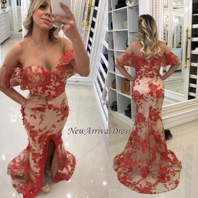 Appliques Front-Split Red Mermaid Scoop Evening Dresses_1