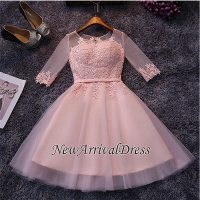 Appliques Tulle Half Sleeves Pink Sexy Short Homecoming Dresses_1