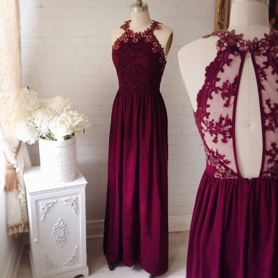 Delicate Lace Appliques Jewel Sleeveless Custom Made A-line Prom Dresses Cheap_3