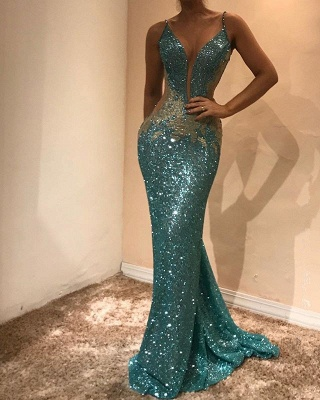 Stunning Sequined Bodycon Lace Sleeveless Evening Dress | Spaghetti Strap Evening Gown_1