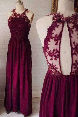 Delicate Lace Appliques Jewel Sleeveless Custom Made A-line Prom Dresses Cheap_1