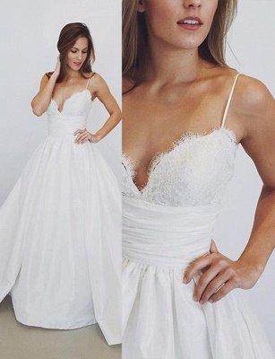 Lace Sexy Spaghetti Straps Elegant A-Line Wedding Dresses Cheap_3