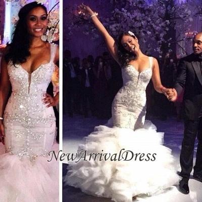 Ruffles Mermaid Sexy Spaghetti Straps Crystals Tulle Luxurious Wedding Dress Cheap_1