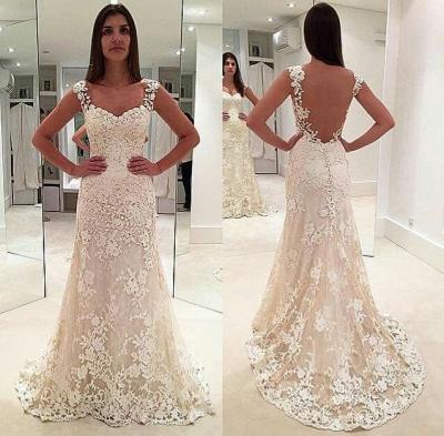 Sleeveless Straps Beautiful Lace Mermaid Open Back Elegant Wedding Dresses_3