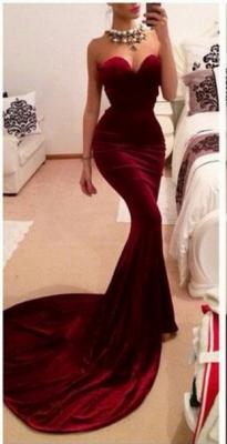 New Arrival Sweetheart Sleeveless Mermaid Prom Dress With Train_1