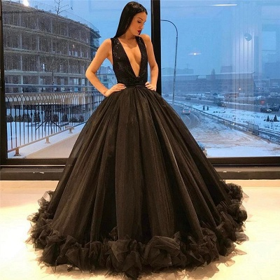 Puffy Sequins Deep-V-Neck Sexy Tulle Ruffles Sparkling Sleeveless Black Evening Gown_3