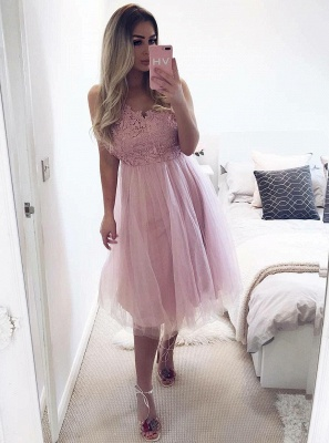 Elegant Sexy Sleeveless Homecoming Dresses  Classic Short Tulle Prom Dresses_1