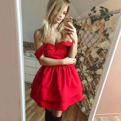 Cute Red Off-the-shoulder Short Homecoming Dress | Ruffled Formal Gown_2