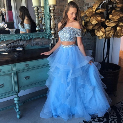 Off the Shoulder Crystals Beads Two Piece Prom Dress Blue Organza Tiere Ruffles Formal Gowns FB0227_3