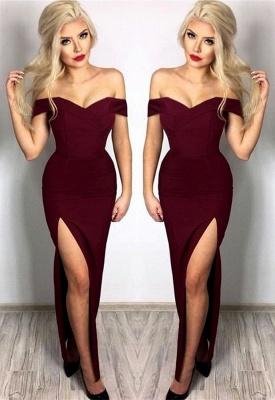 New Arrival Off The Shoulder Simple Prom Dresses | Side Split Floor Length Formal Gowns_4