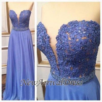 Crystal Sweetheart Floor-Length A-Line Cheap Lace Prom Dresses_1