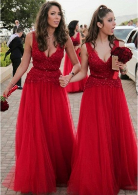 V-neck Beads Appliques Red Bridesmaid Dresses Sexy | Tulle Cheap Long Bridesmaid Dress Online_1