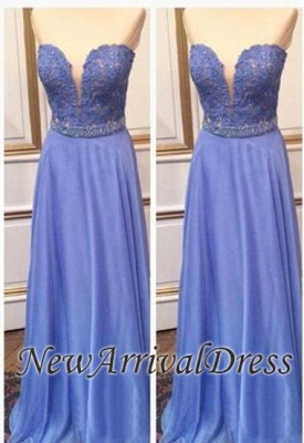 Crystal Sweetheart Floor-Length A-Line Cheap Lace Prom Dresses_3