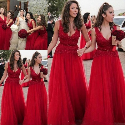 V-neck Beads Appliques Red Bridesmaid Dresses Sexy | Tulle Cheap Long Bridesmaid Dress Online_3