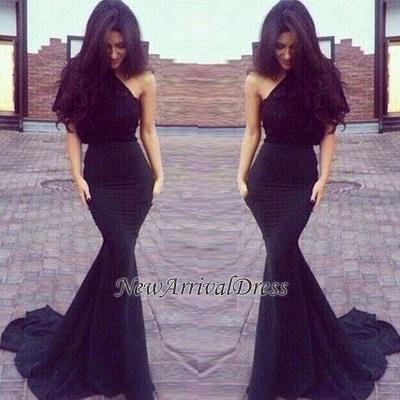 Elegant Black One-Shoulder New Mermaid Prom Dresses_3
