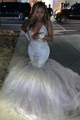 Silver Sparkling Sequins Prom Dresses Mermaid | Beads Appliques Spaghetti Straps Sexy Prom Gowns Cheap_3
