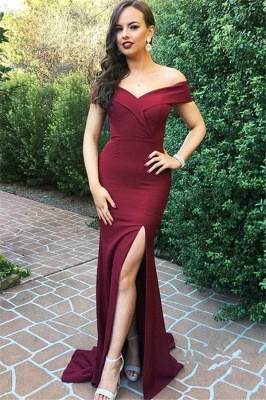 New Arrival Off The Shoulder Simple Prom Dresses | Side Split Floor Length Formal Gowns