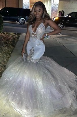 Silver Sparkling Sequins Prom Dresses Mermaid | Beads Appliques Spaghetti Straps Sexy Prom Gowns Cheap