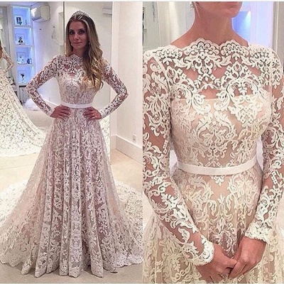 Lace Appliques Backless Bowknot Elegant Long Sleeve Cheap Online A-Line Wedding Dresses_3