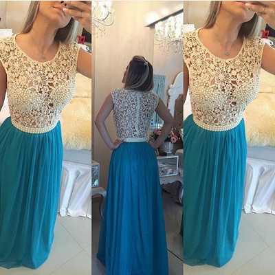Long Blue Prom Dresses Lace Capped Sleeves Pearls Chiffon Sheer Bodice Formal Evening Dresses_5
