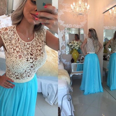 Long Blue Prom Dresses Lace Capped Sleeves Pearls Chiffon Sheer Bodice Formal Evening Dresses_3