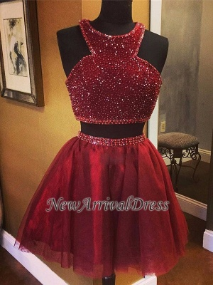 Luxury Sleeveless Bead Custom Made A-line Red Two Piece Sexy Short Homecoming Dresses_1