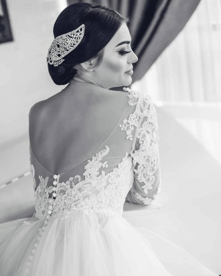 Open Back Lace Appliques Wedding Dresses with Sleeves | Tiered Ruffles Tulle Sexy Bridal Gowns_4