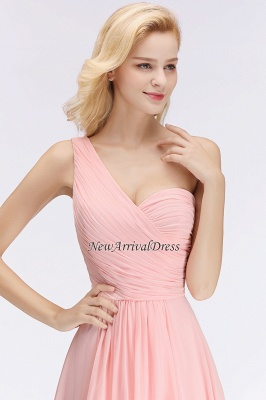 Pink One-Shoulder Modest Sleeveless Ruffled Zipper Floor-length Bridesmaid Dress_1