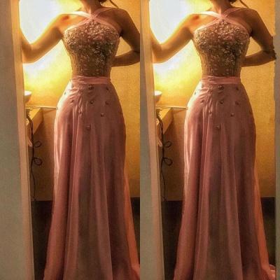 Halter CrystalEvening Dress | Mermaid Pink Prom Dress On Sale_4