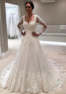 Elegant Long Sleeve Lace Wedding Dresses | Illusion Sexy Bride Dresses with Long Train_1