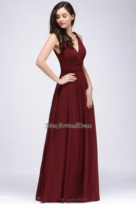 Ruched Chiffon A-line V-Neck Burgundy Evening Dresses_5