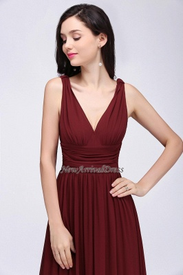 Ruched Chiffon A-line V-Neck Burgundy Evening Dresses_2