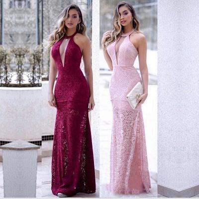 Sexy Mermaid Lace Halter V-Neck Slit Prom Dress   Evening Dress_3